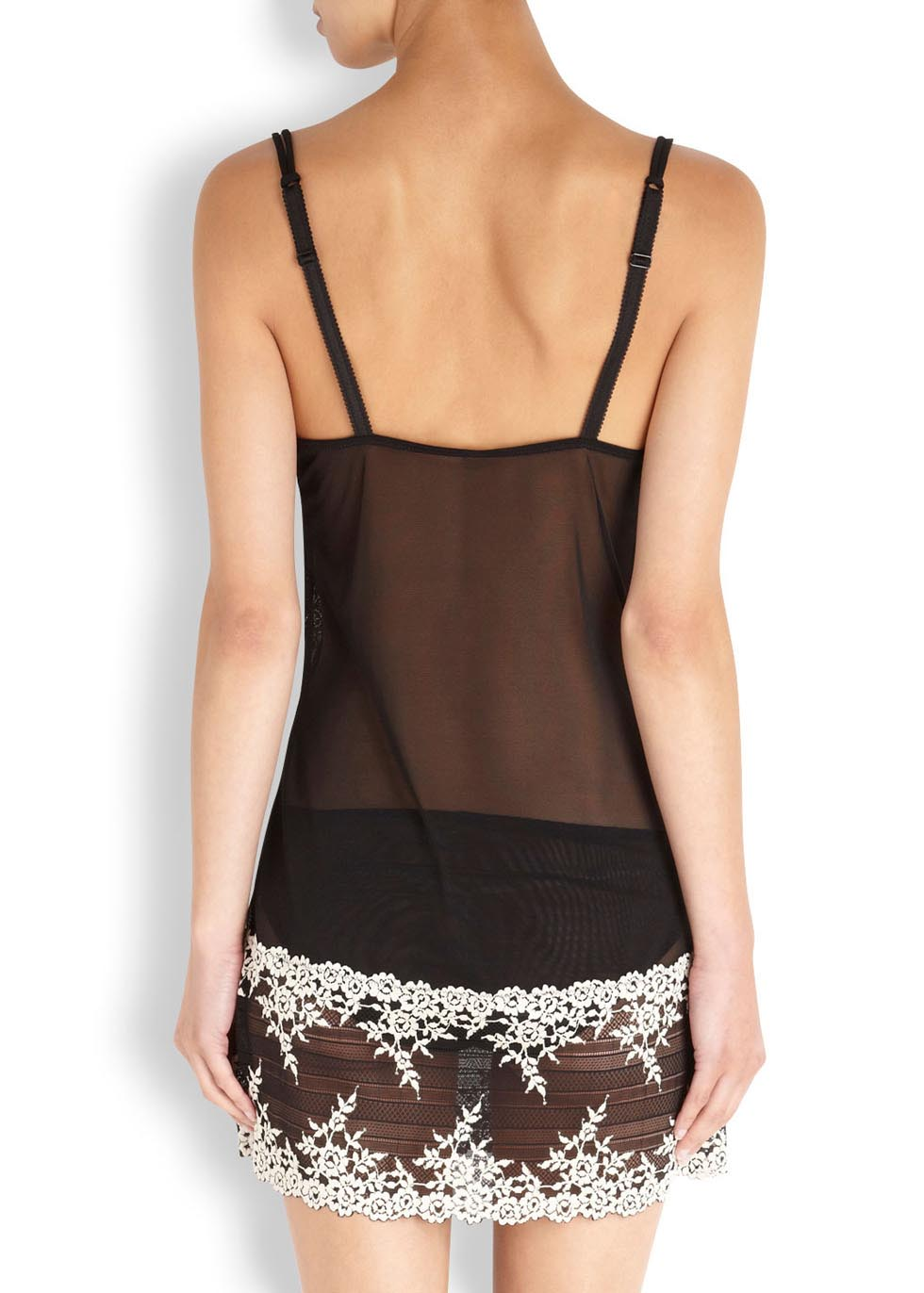 Embrace black embroidered tulle chemise - Wacoal