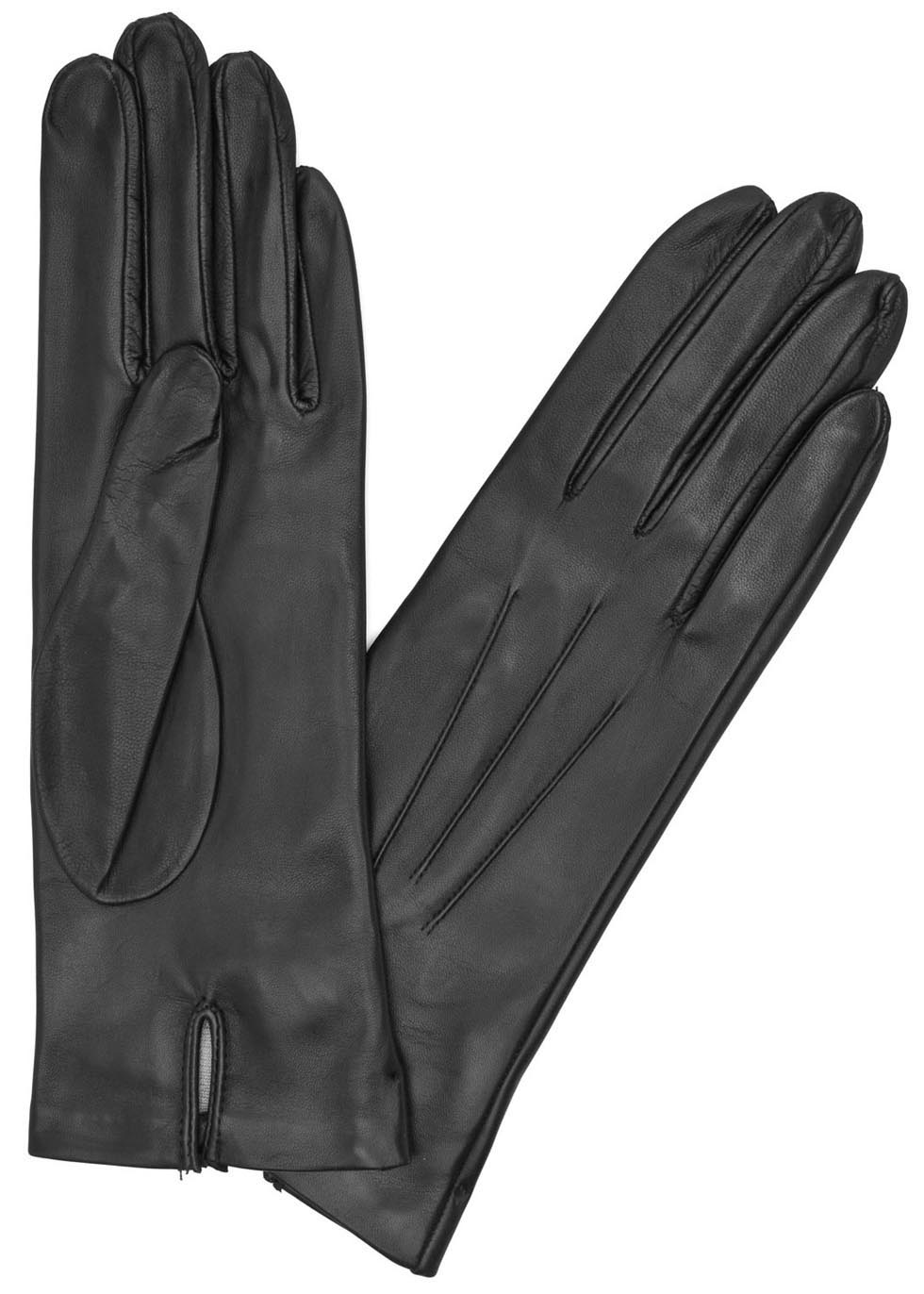 Black silk-lined leather gloves - Dents
