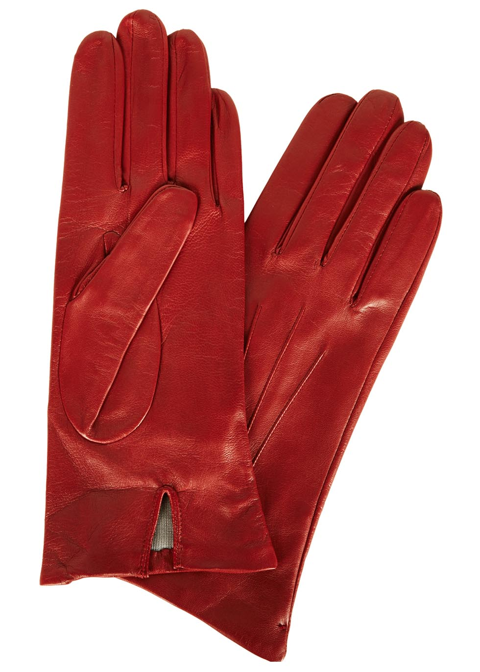 Classic Silk-Lined Leather Gloves, Red