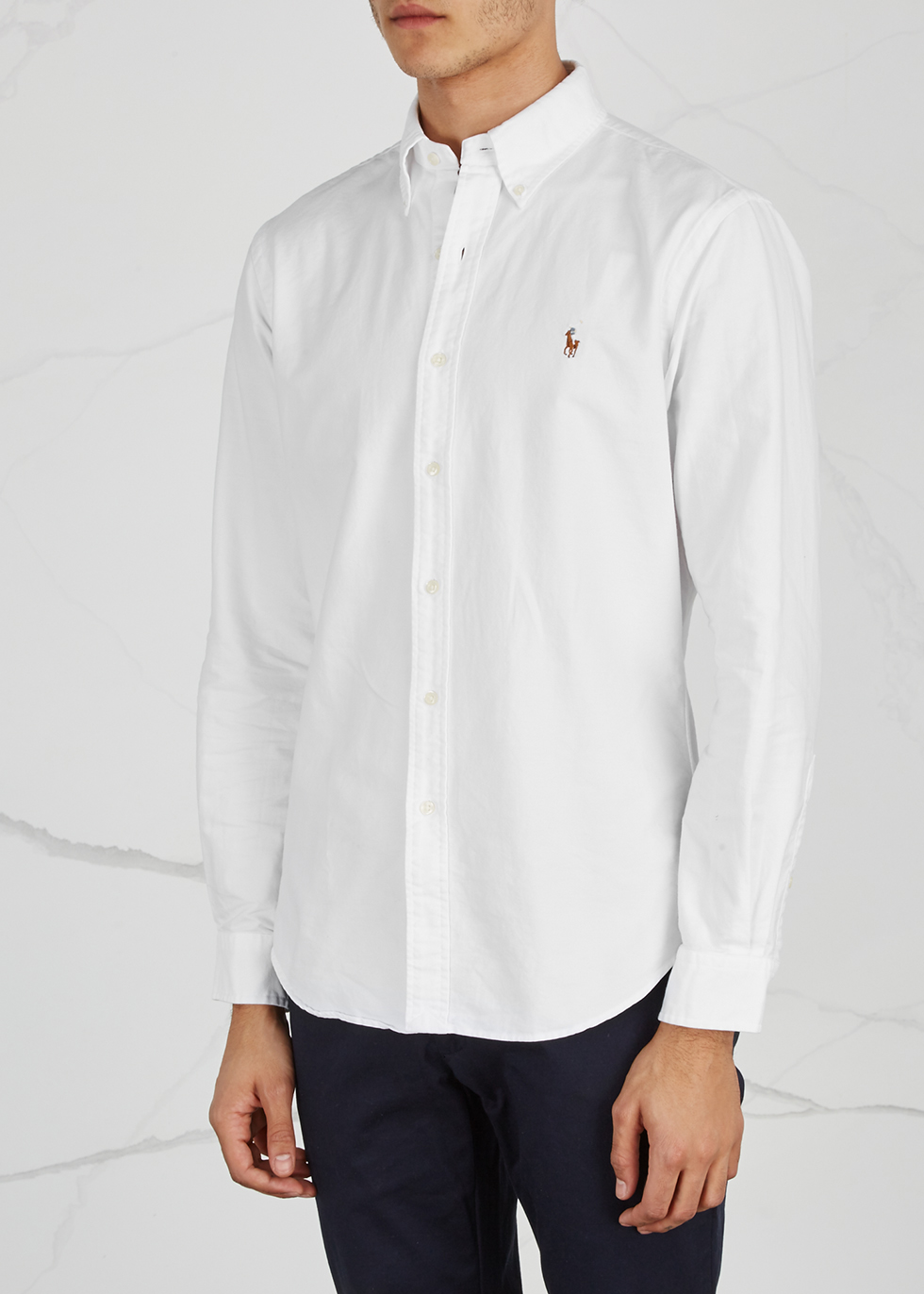 White slim piqué cotton Oxford shirt - Polo Ralph Lauren