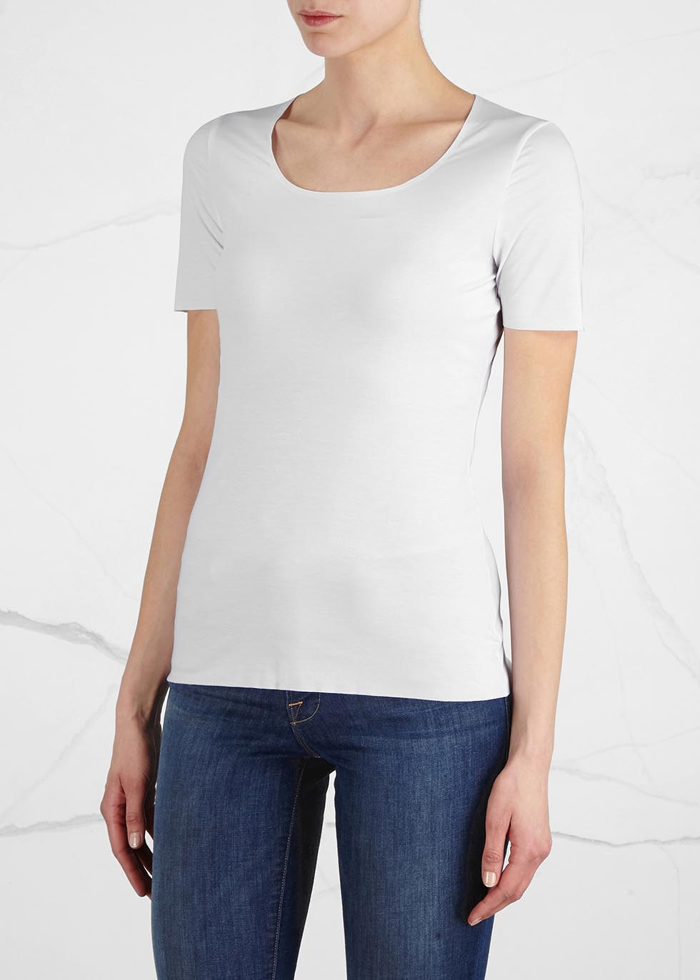 Pure white stretch jersey top - Wolford