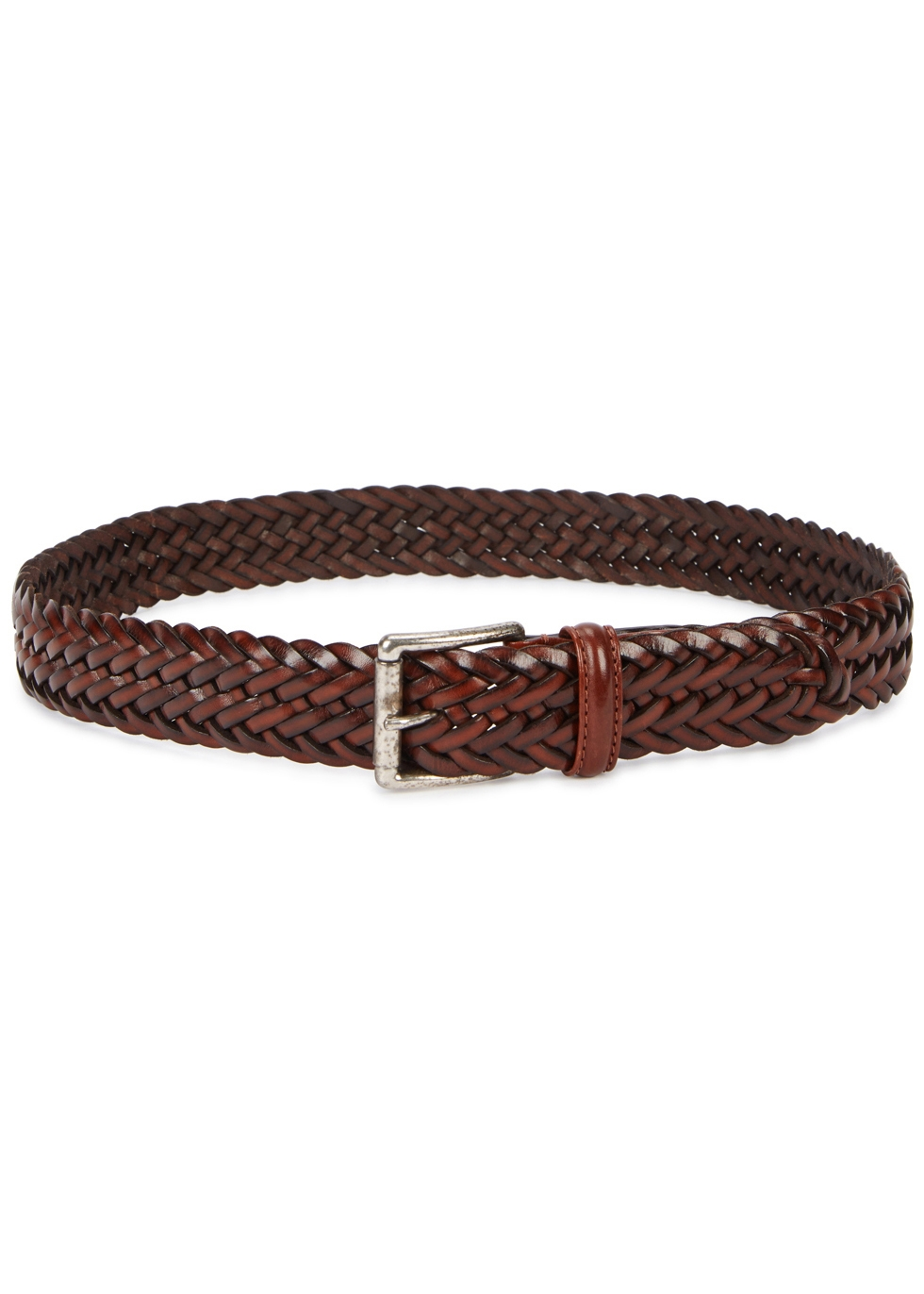 Brown woven leather belt - Anderson's