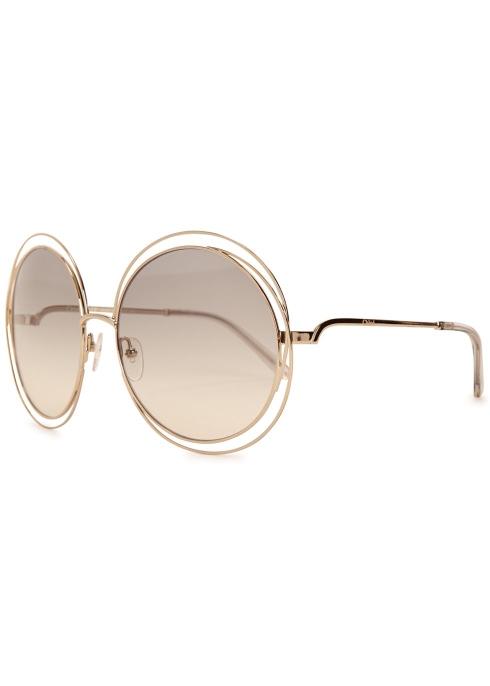 185081176ce Chloé Gold-tone oversized sunglasses - Harvey Nichols