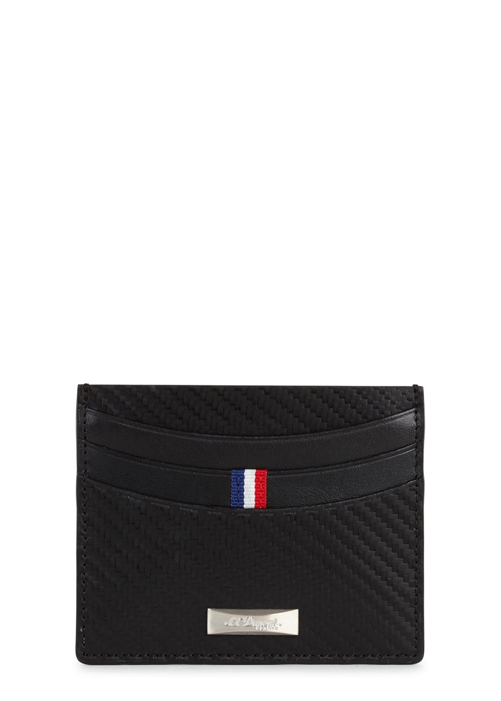 Black Défi carbon leather card holder - S.T. Dupont
