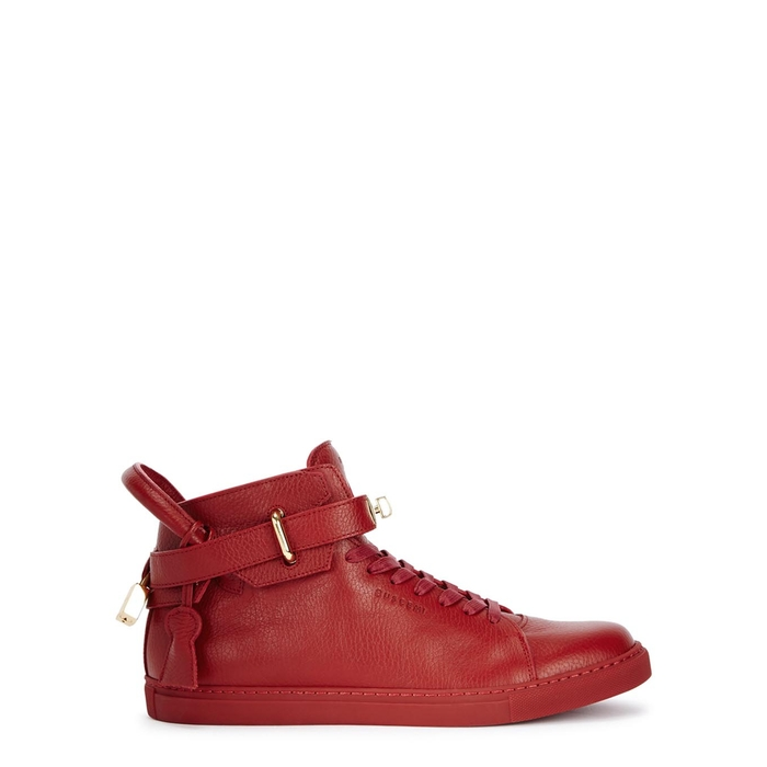 Buscemi 100MM GUTS RED LEATHER HI-TOP TRAINERS