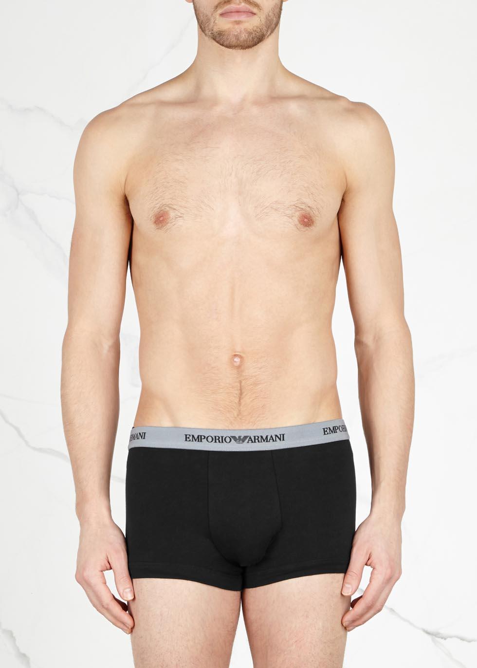 Black stretch cotton boxer briefs - set of three - Emporio Armani