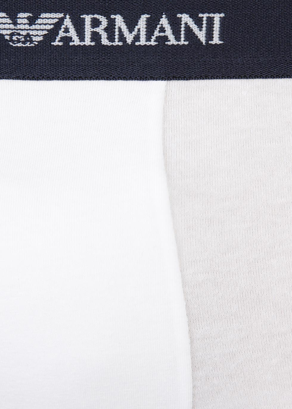 White stretch cotton boxer briefs - set of three - Emporio Armani