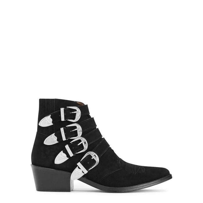 Toga BLACK SUEDE ANKLE BOOTS