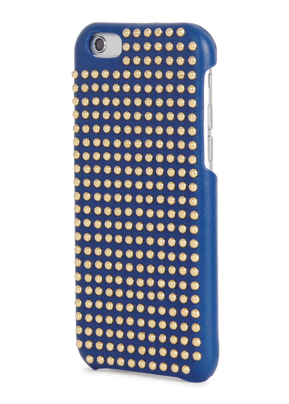 Blue studded leather iPhone 6/6S case - The Case Factory