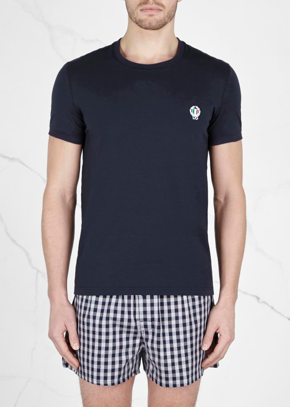 Navy stretch cotton T-shirt - Dolce & Gabbana