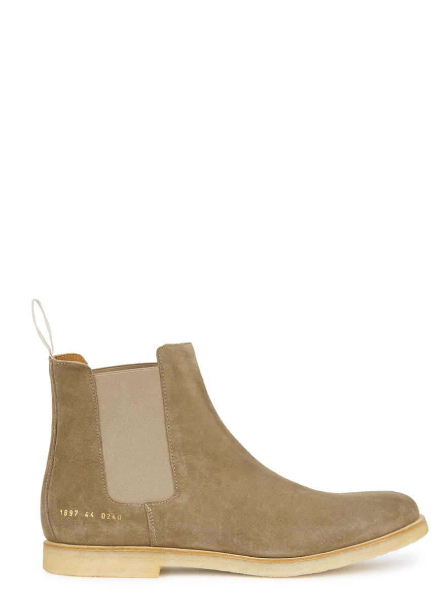 105f27031e5 Taupe brushed suede Chelsea boots ...