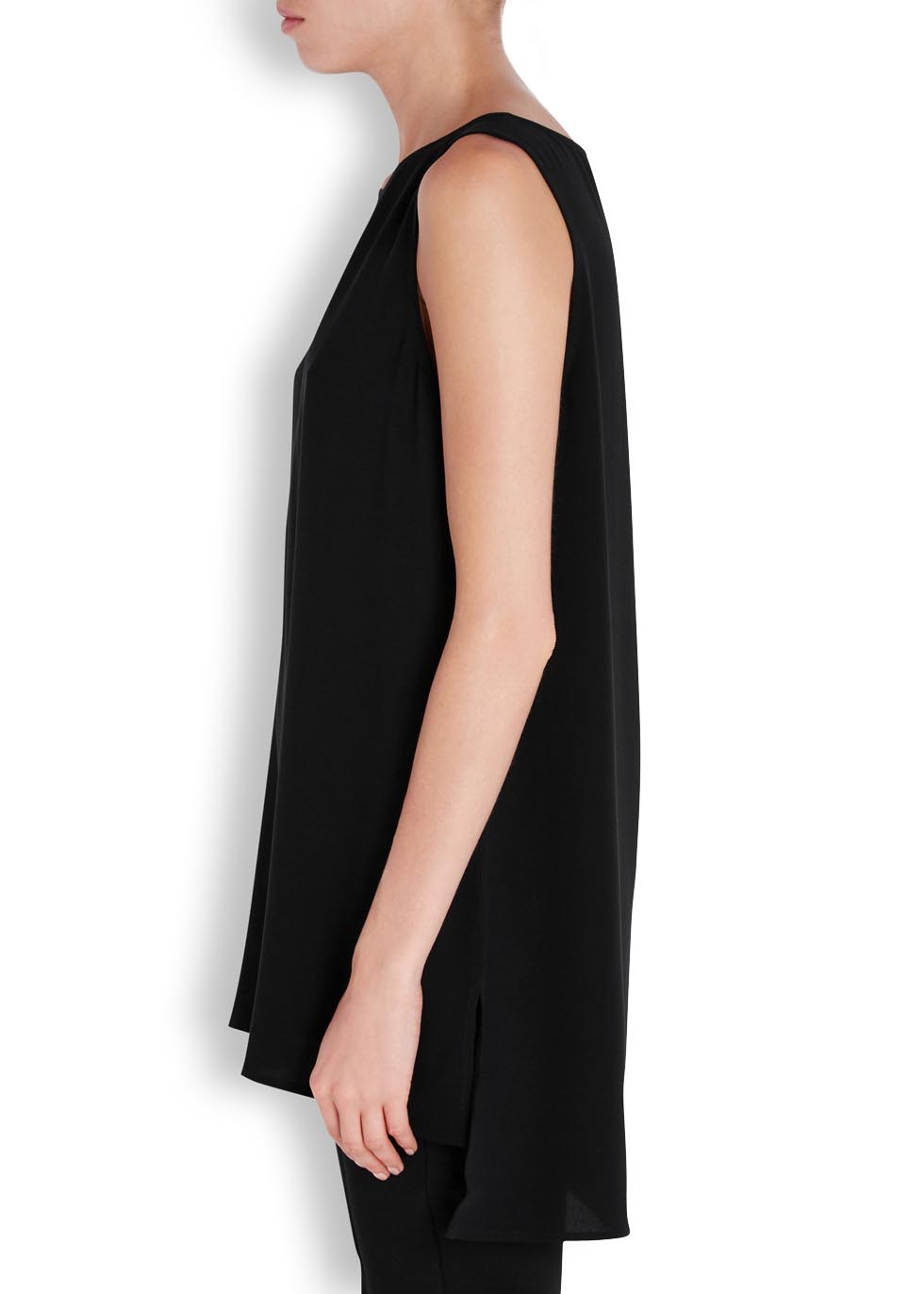 System black silk crepe top - EILEEN FISHER