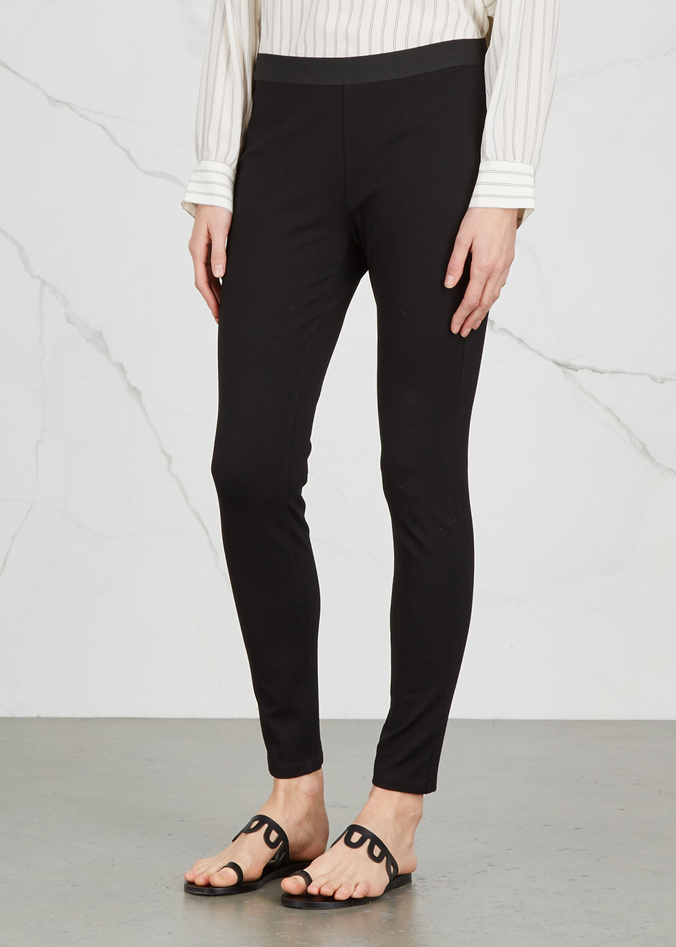 Black skinny ponte jersey leggings - EILEEN FISHER