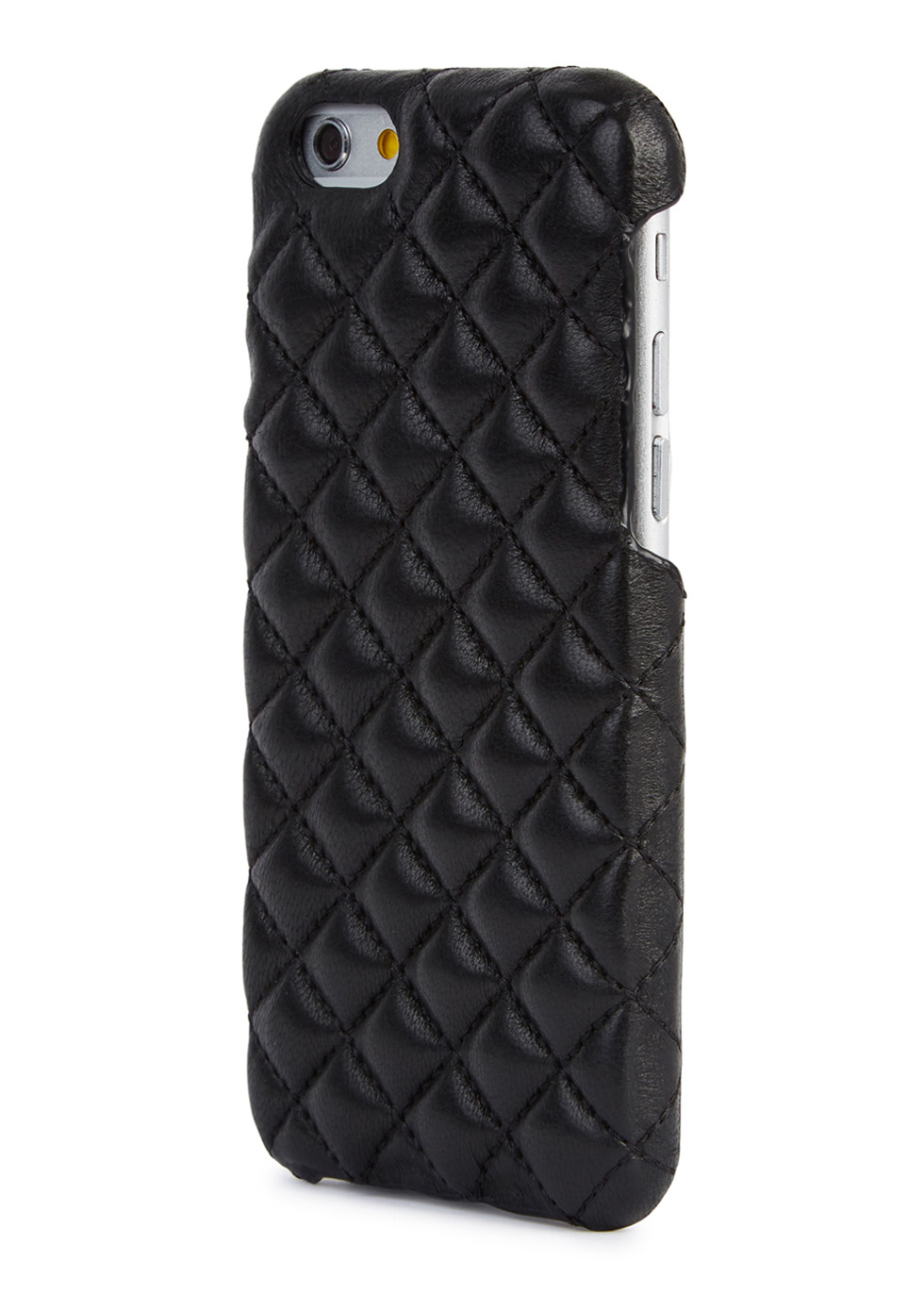 Black quilted leather iPhone 6/6S case - The Case Factory