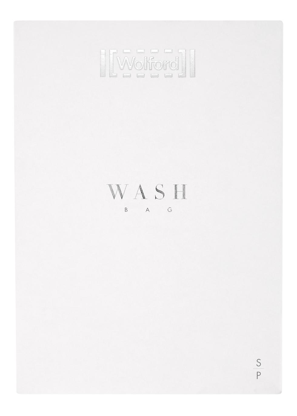 White Striped Mesh Wash Bag
