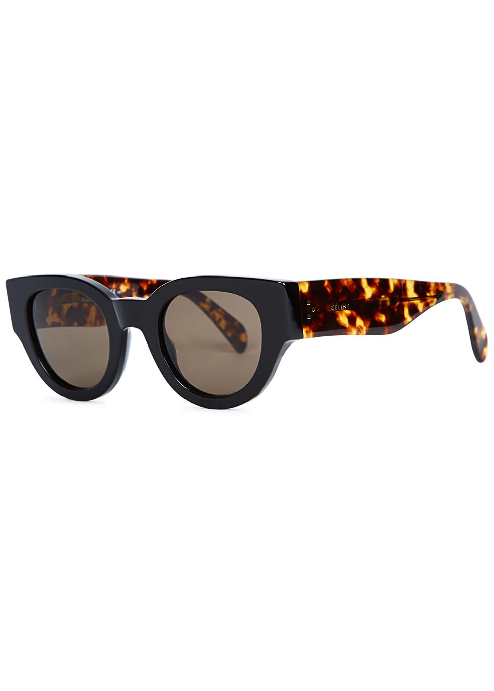 Black and tortoiseshell round-frame sunglasses - Celine