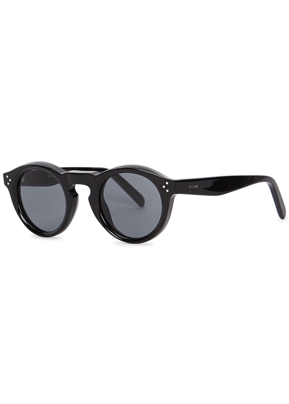 Bevel black round-frame sunglasses - Celine
