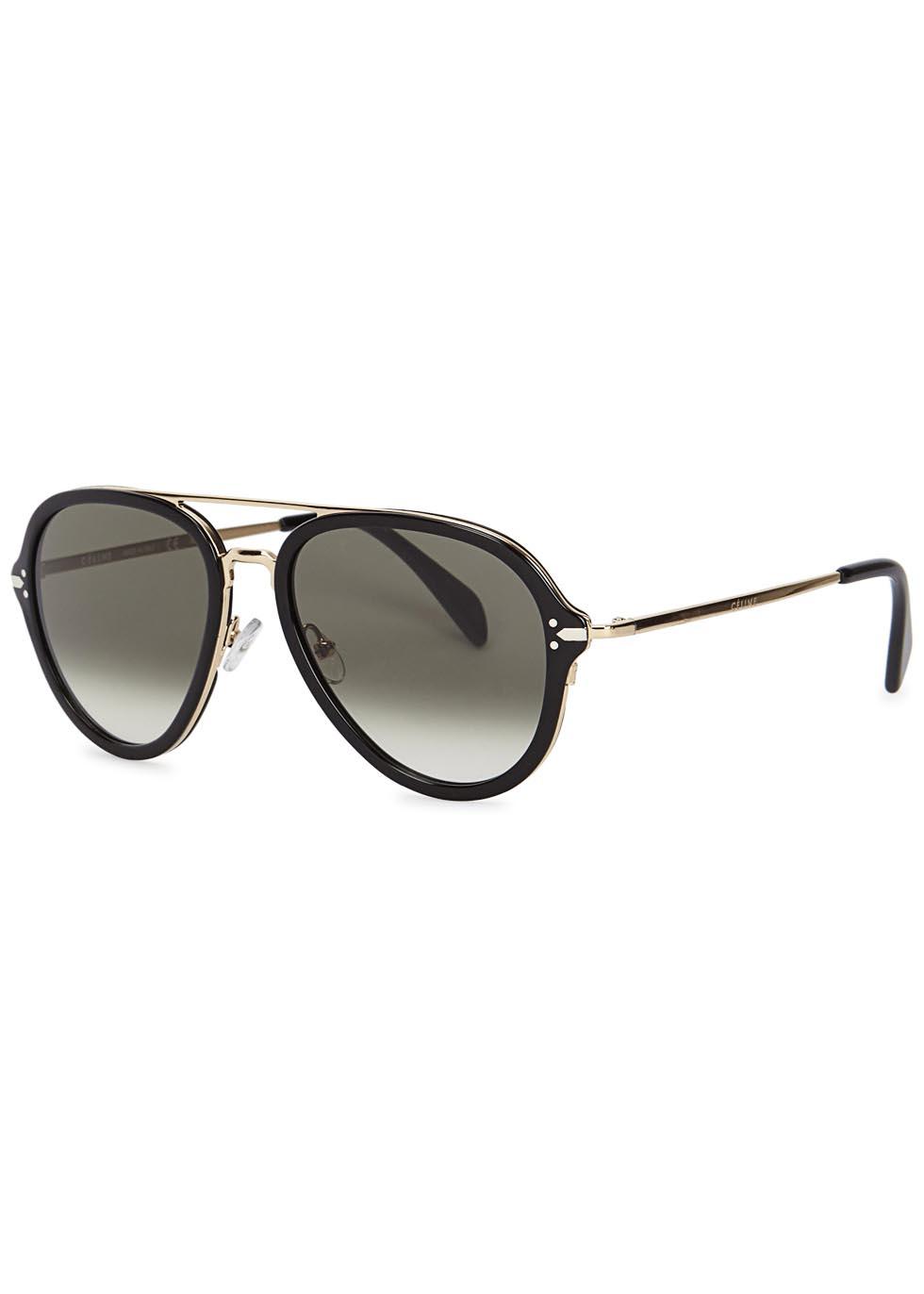 Drop black aviator-style sunglasses - Celine