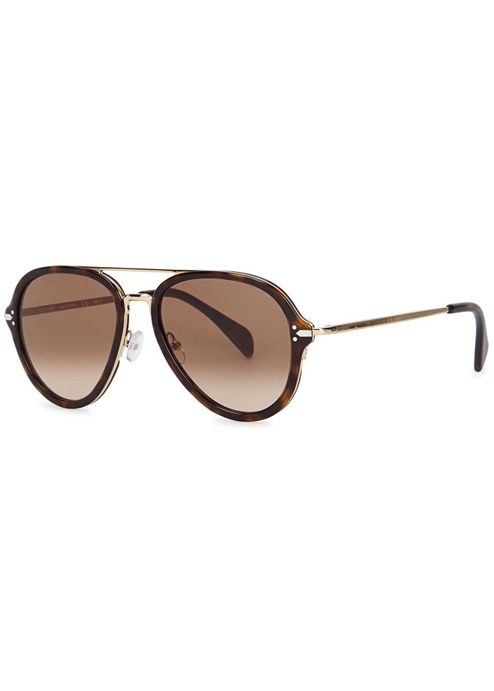 Drop tortoiseshell aviator-style sunglasses - Celine