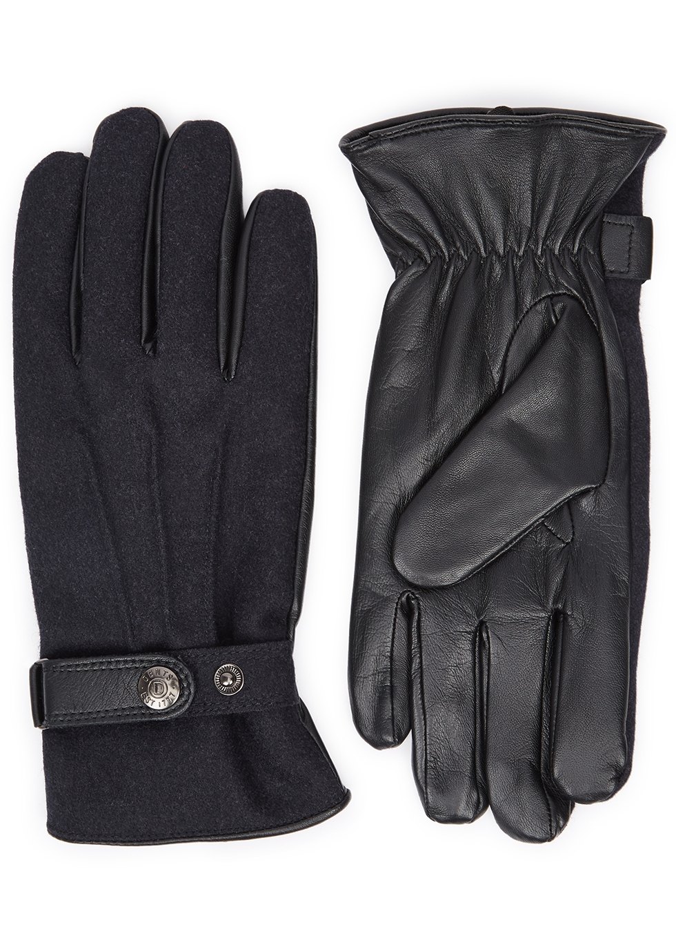 DENTS Guildford Flannel And Leather Gloves in Navy