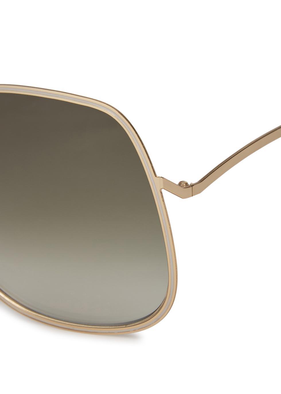 Enamel Wave gold tone oversized sunglasses - Victoria Beckham