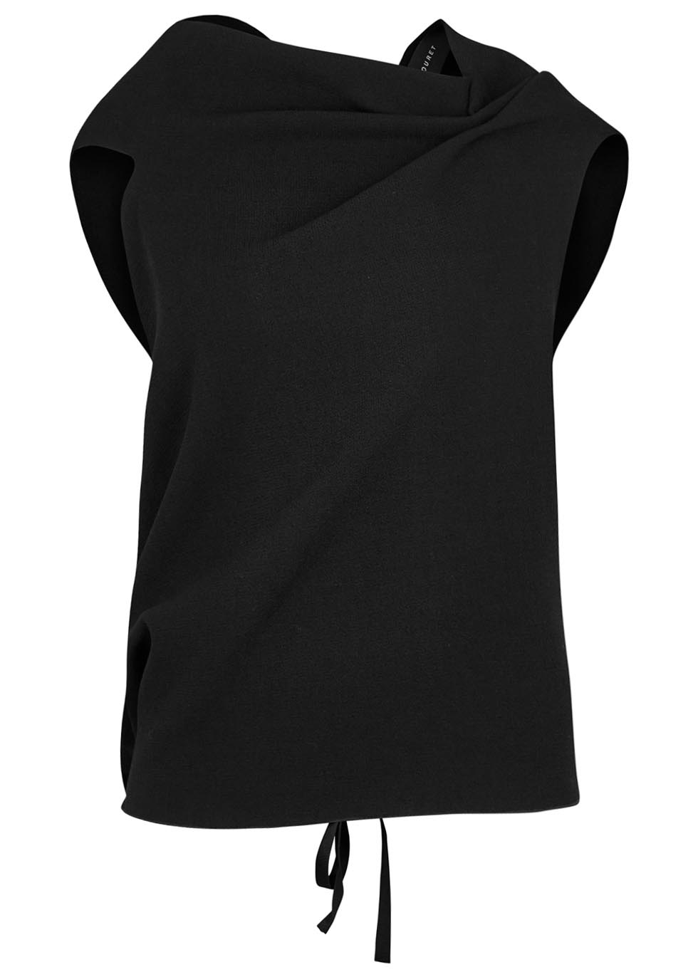 Eugene black open-back wool crepe top - Roland Mouret