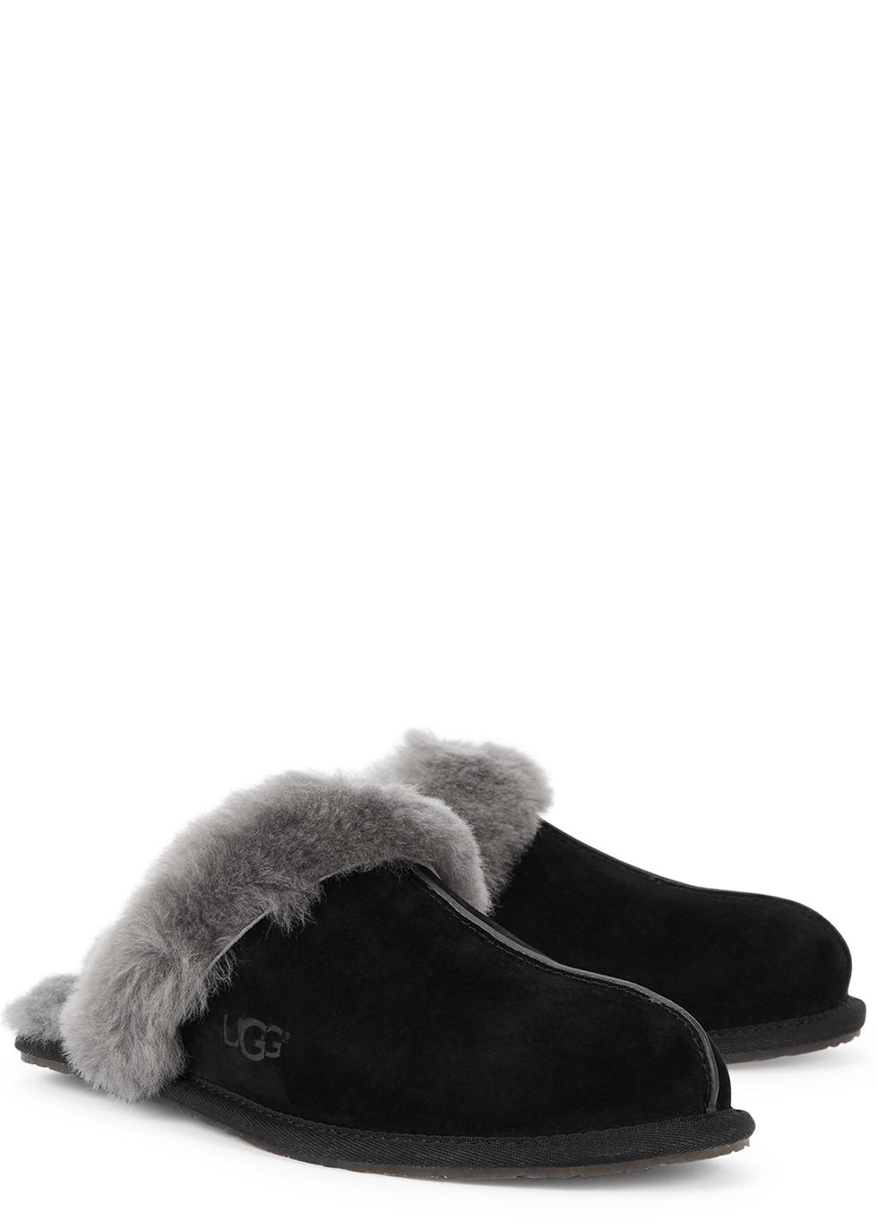 UGG Scuffette II black suede slippers