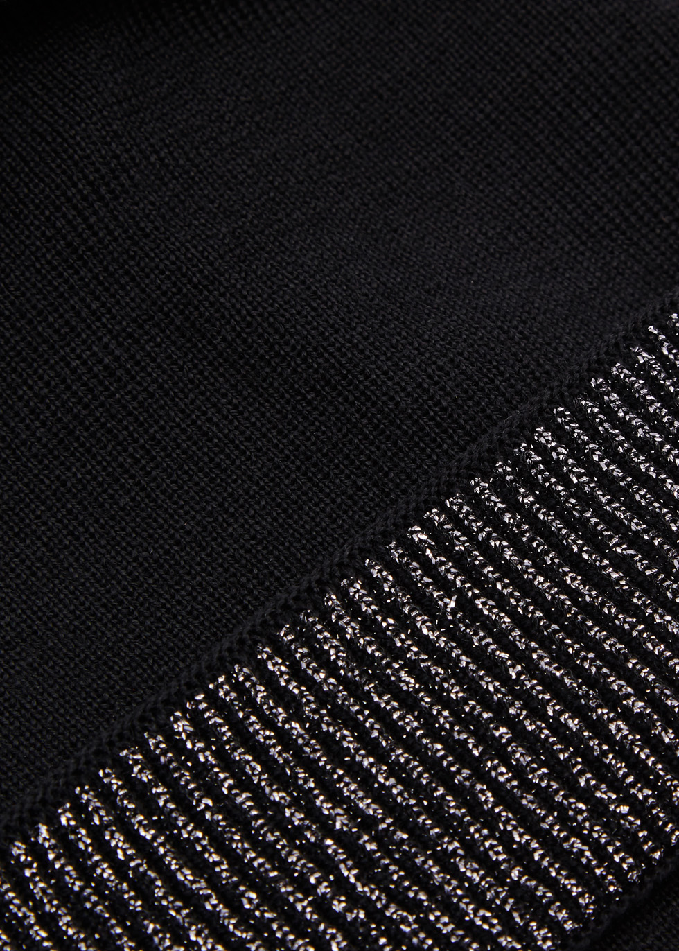 Black bow-embellished beanie - Federica Moretti