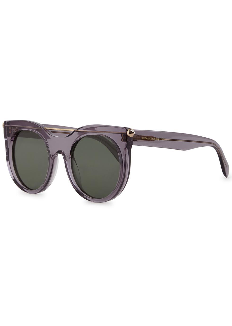 Transparent grey round-frame sunglasses - Alexander McQueen