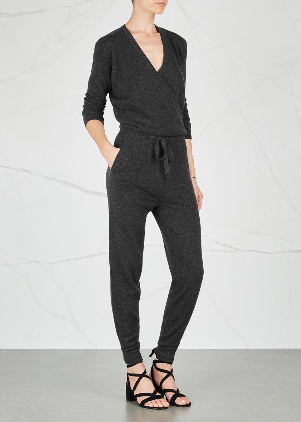 Lima charcoal cashmere jumpsuit - Le Kasha