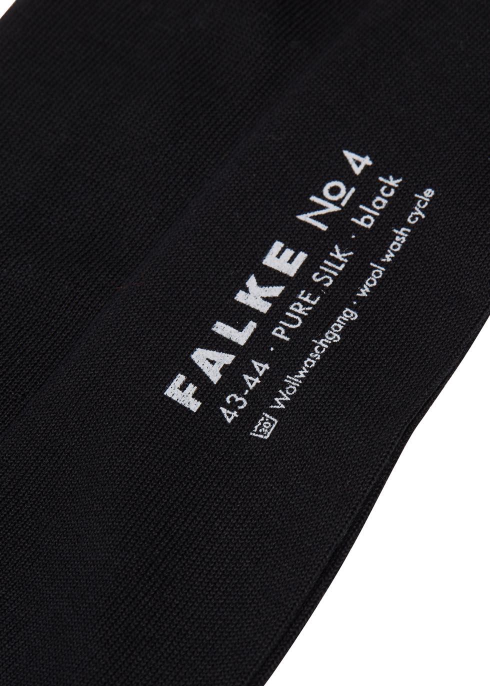 Black fine-knit silk socks - Falke