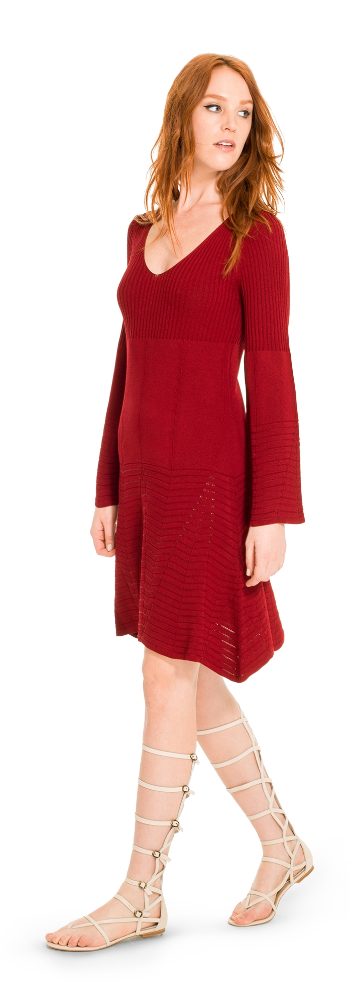 LEON MAX LONG SLEEVED TEXTURAL SWEATER DRESS