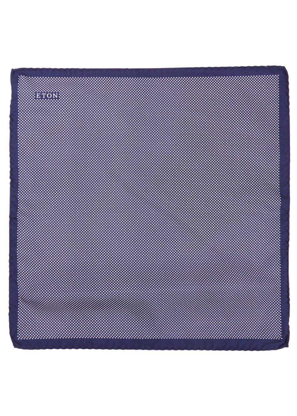 Navy polka-dot silk pocket square - Eton