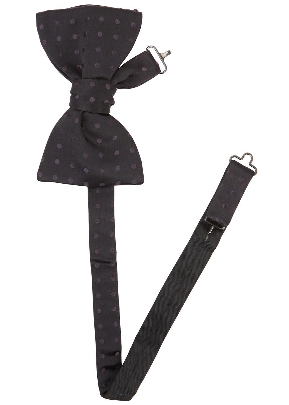 Black polka-dot silk bow tie - Eton