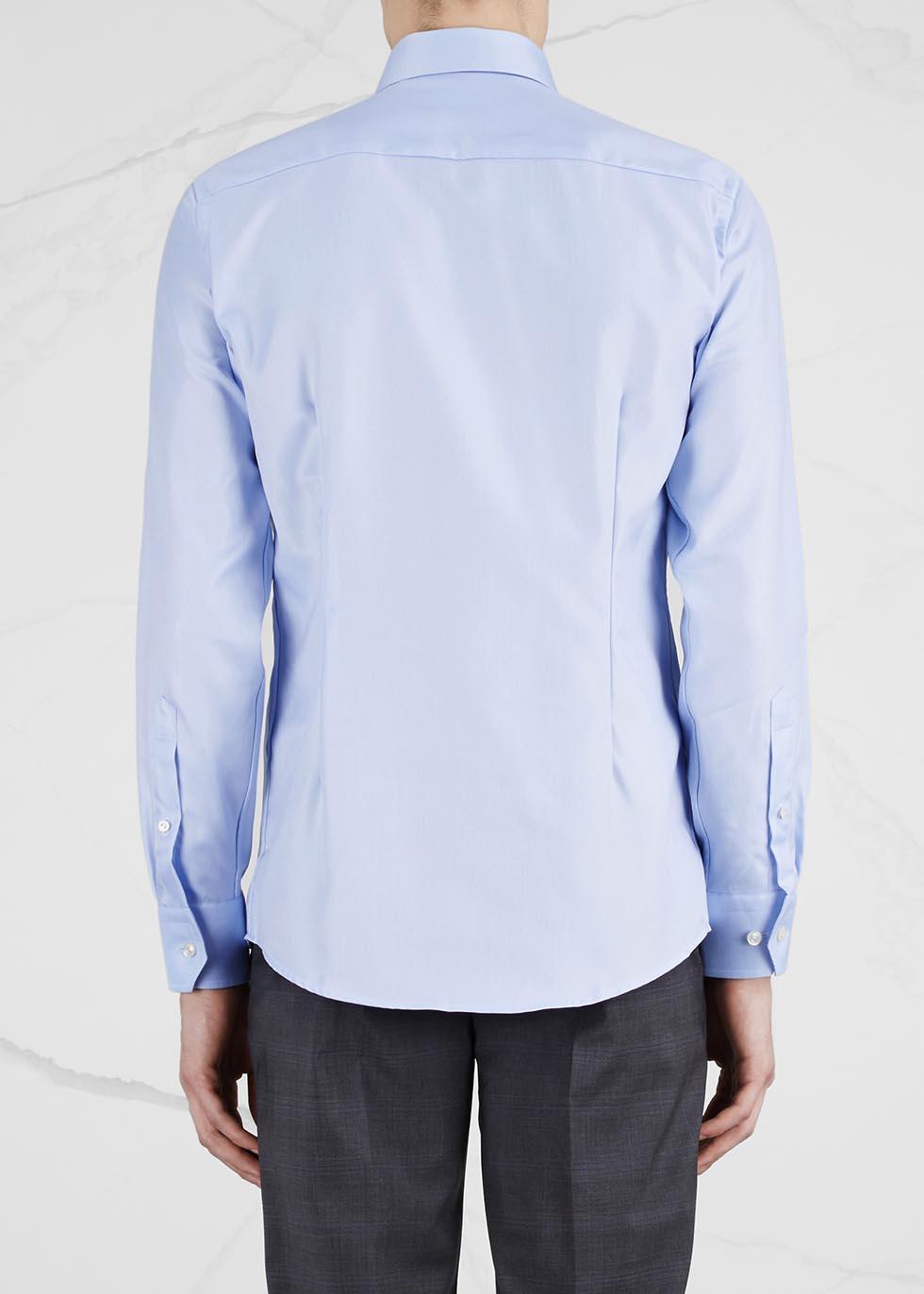 Light blue slim cotton shirt - Eton