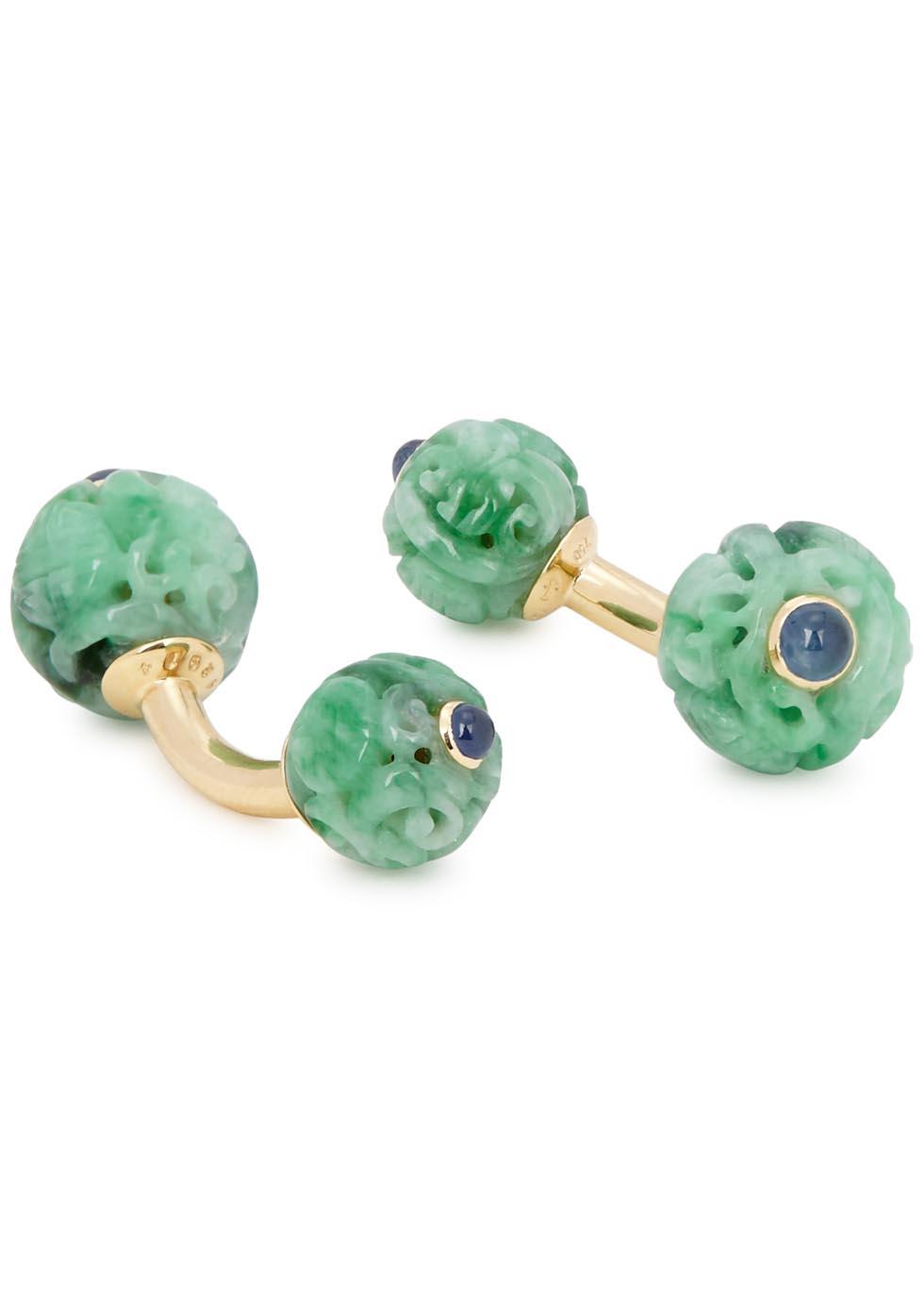 Canton jade 18kt gold-plated cufflinks - Trianon
