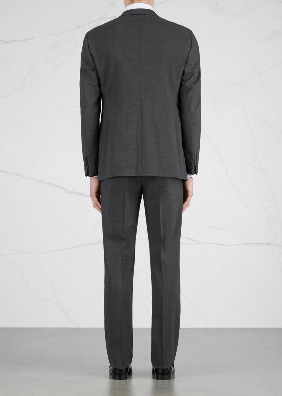 G-line charcoal stretch wool suit - Emporio Armani