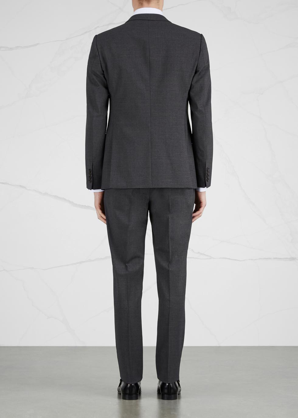 M-Line charcoal stretch wool suit - Emporio Armani