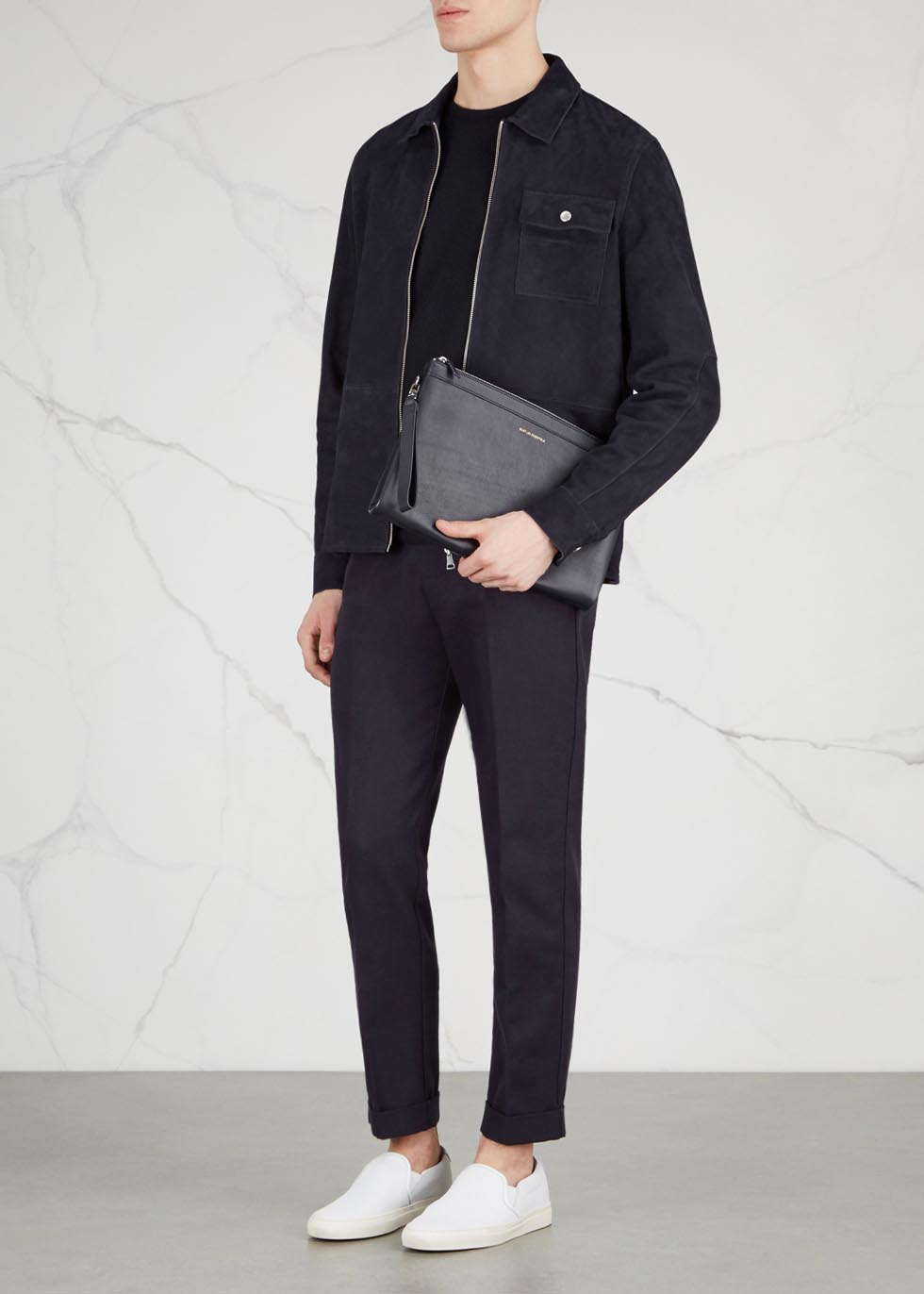 Barajas navy leather and canvas pouch - WANT Les Essentiels