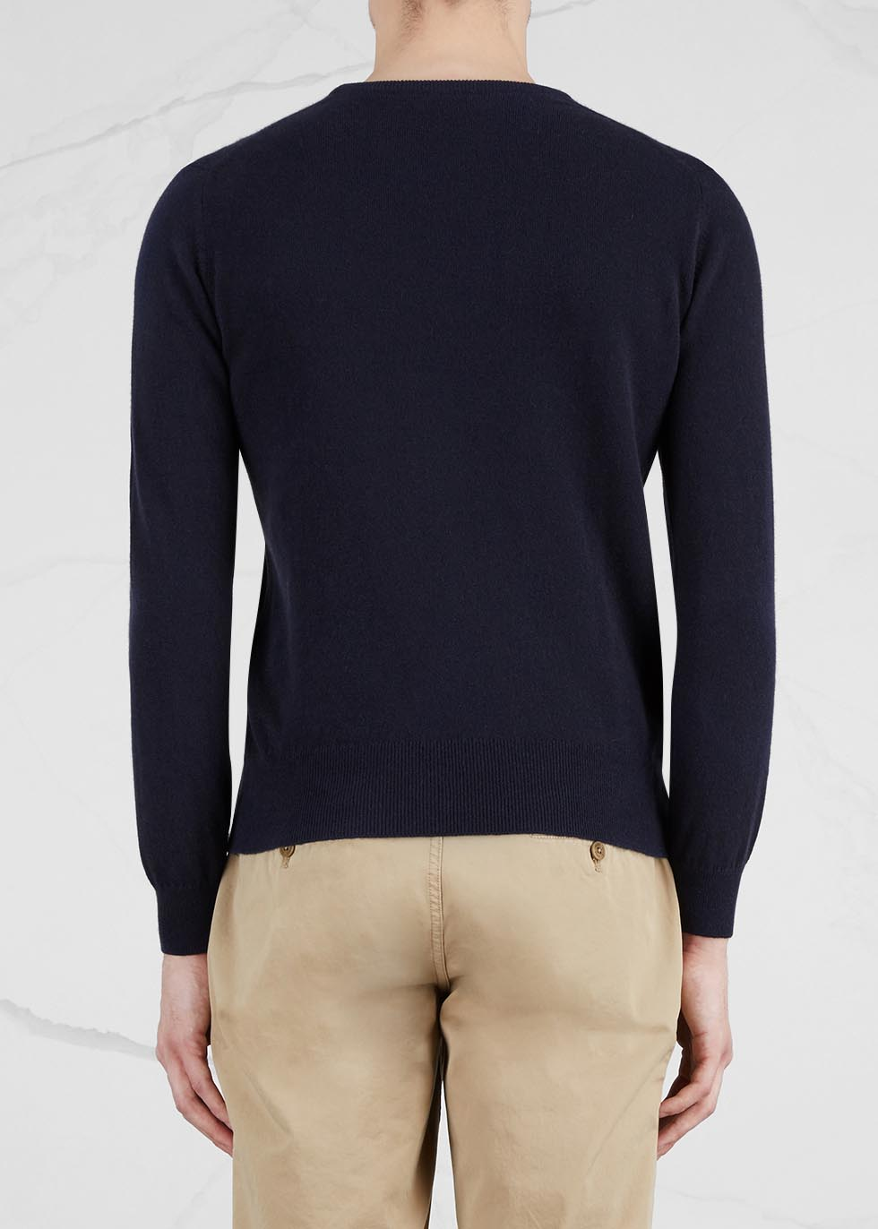 Navy cashmere jumper - Johnstons of Elgin