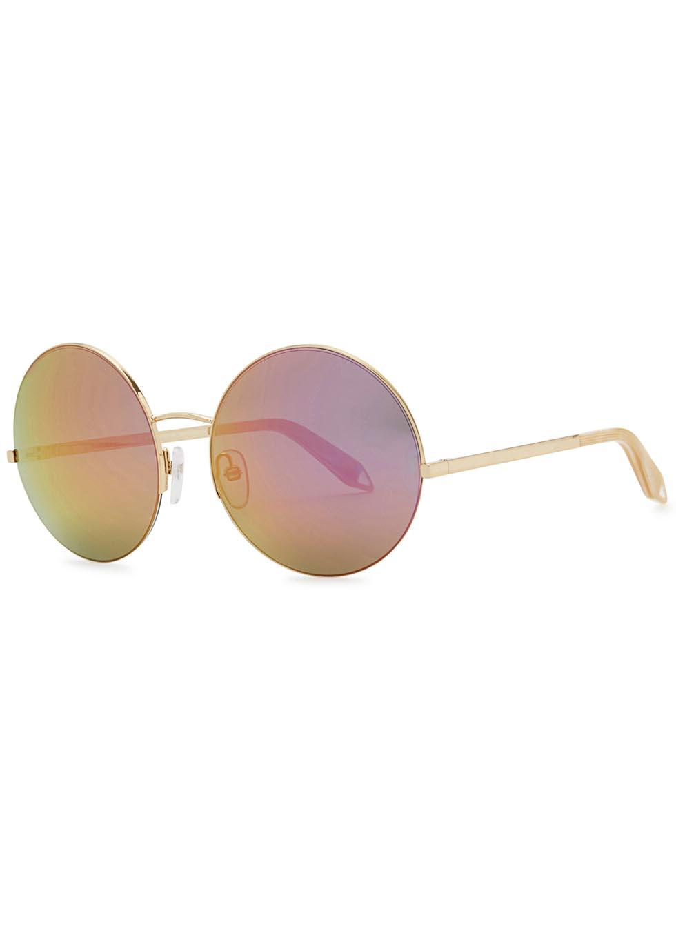 Supra Round mirrored gold tone sunglasses - Victoria Beckham