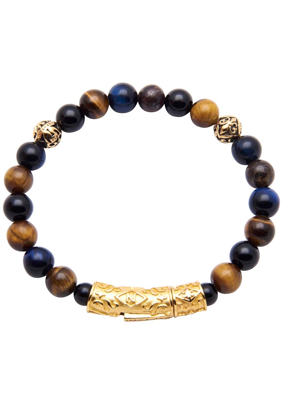 NIALAYA GOLD-PLATED TIGER EYE AND AGATE BEADED BRACELET