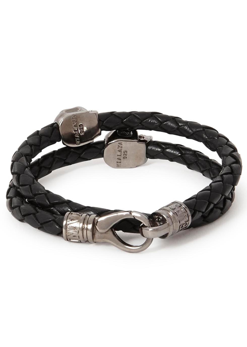 Black skull-embellished leather bracelet - Nialaya