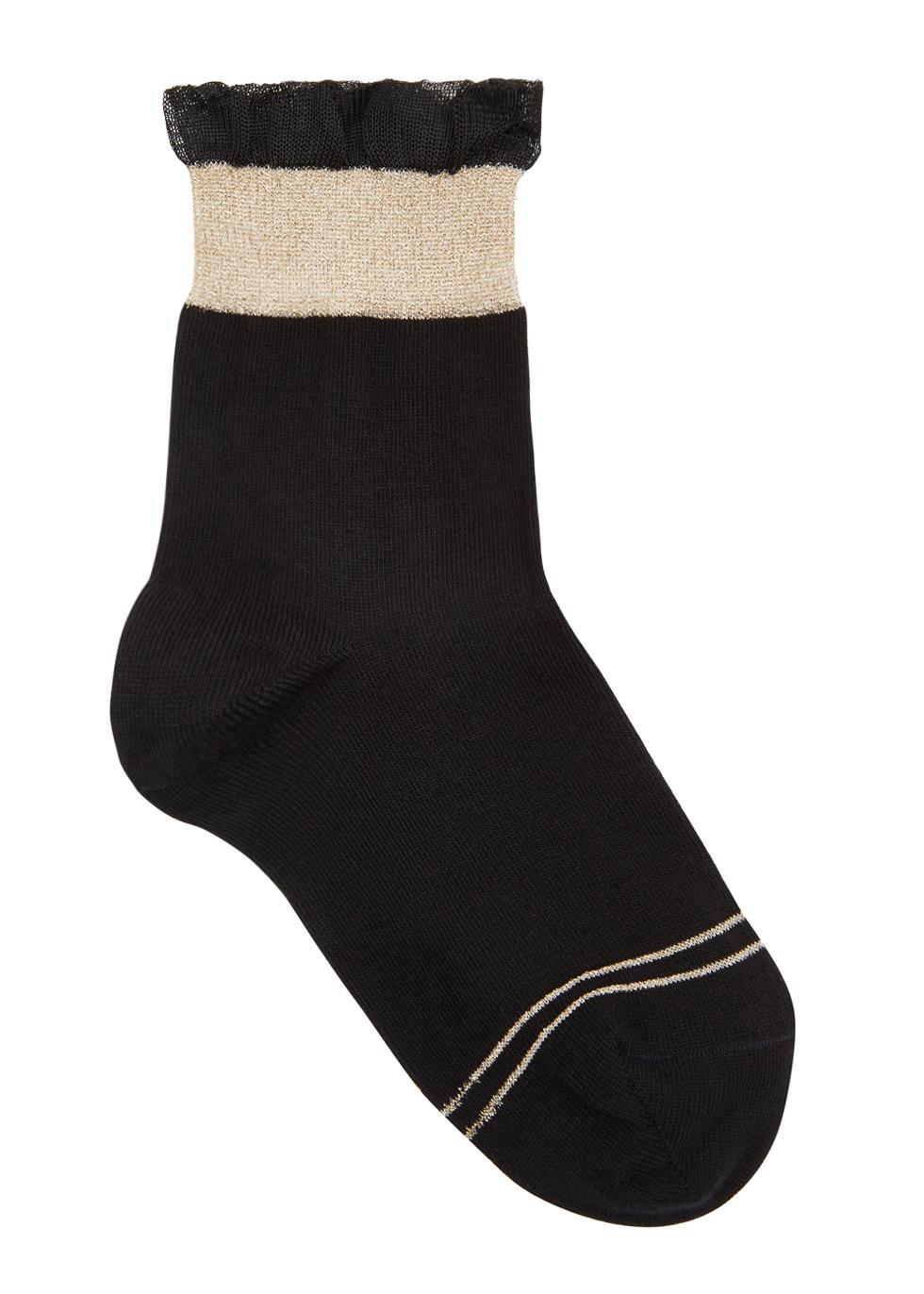 PIERRE MANTOUX BLACK RUFFLE-TRIMMED COTTON BLEND SOCKS