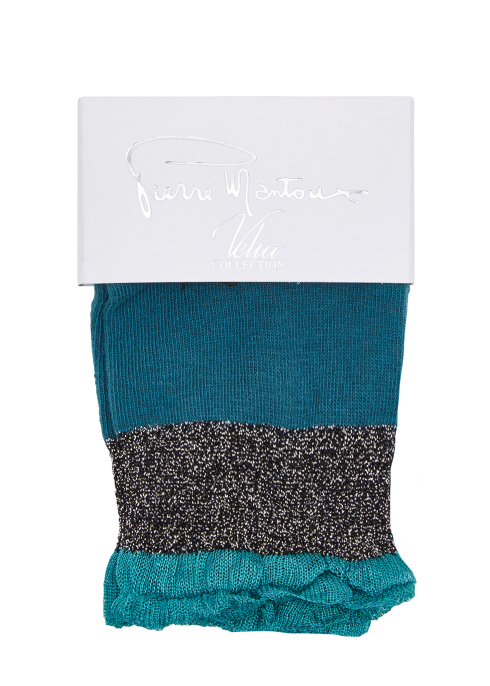 Green ruffle-trimmed cotton blend socks - Pierre Mantoux