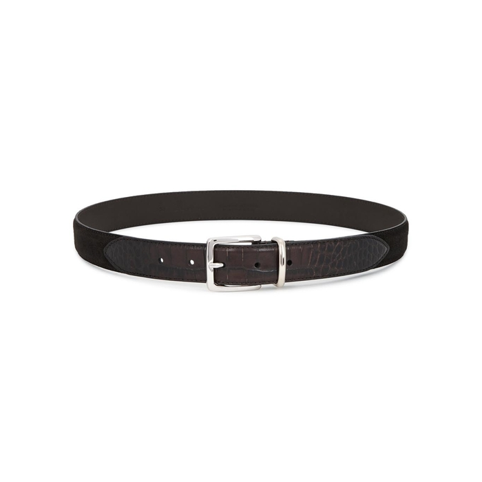 Anderson's Brown Suede And Crocodile-effect Belt