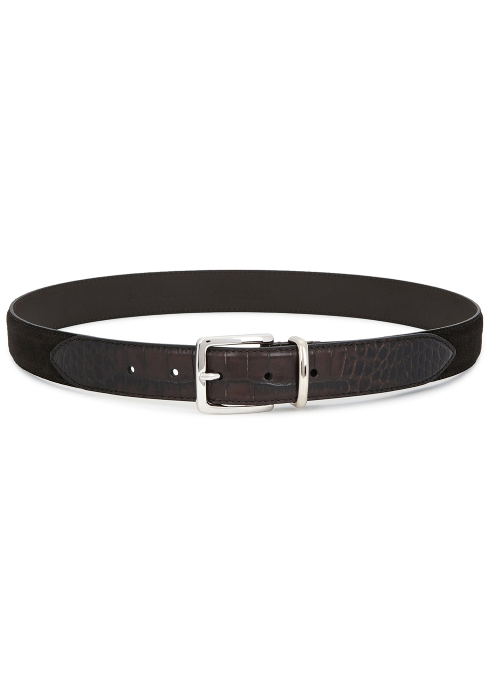Brown suede and crocodile-effect belt - Anderson's