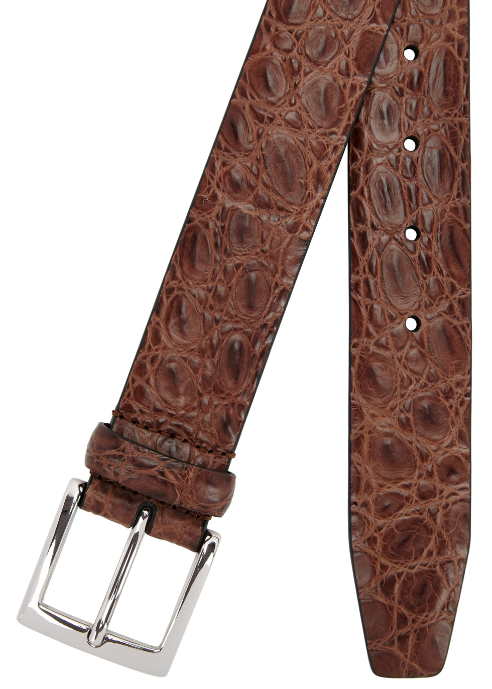 Brown crocodile belt - Anderson's