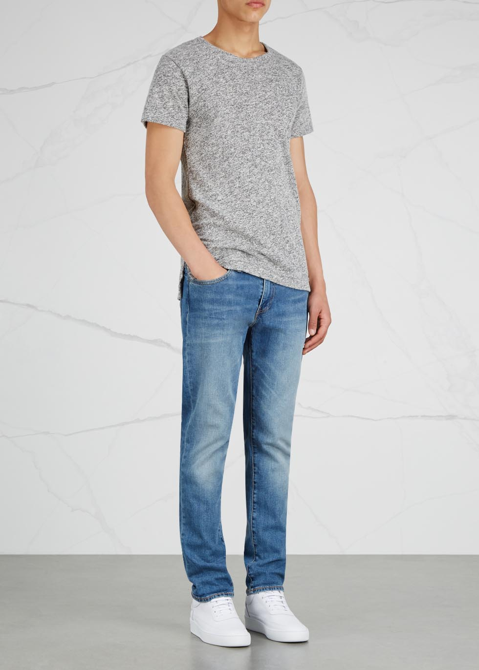 Grey mélange cotton blend T-shirt - John Elliott