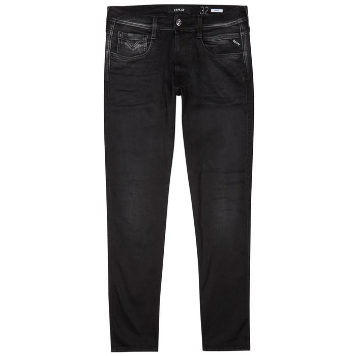 REPLAY ANBASS HYPERFLEX BLACK SLIM-LEG JEANS